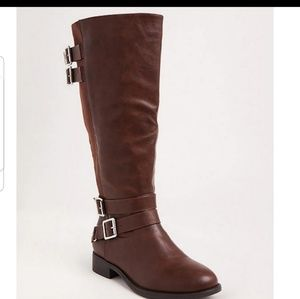 Cognac faux leather tall boot.